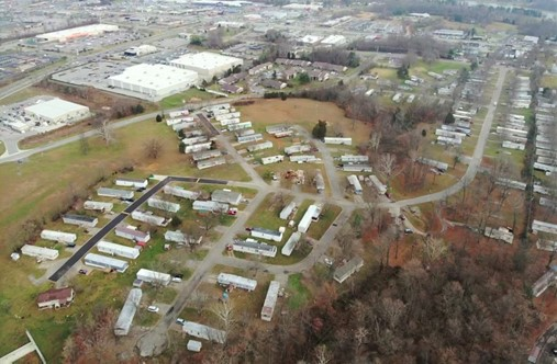 Aerial view of a mobile home park
